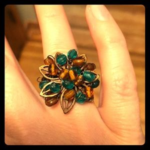 Brown and teal beaded flower ring